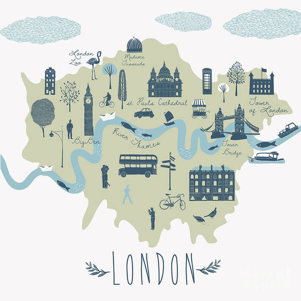 Wall Art - Digital Art - Map Of London Attractions by Lavandaart