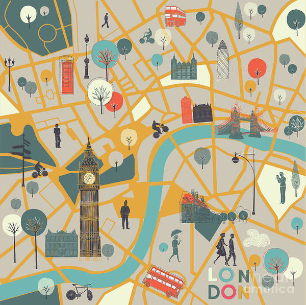 Wall Art - Digital Art - Map Of Londons Sights by Lavandaart