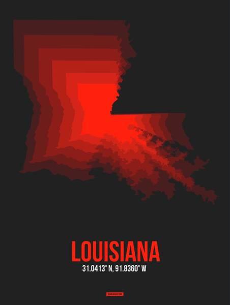 Wall Art - Digital Art - Map Of Louisiana by Naxart Studio