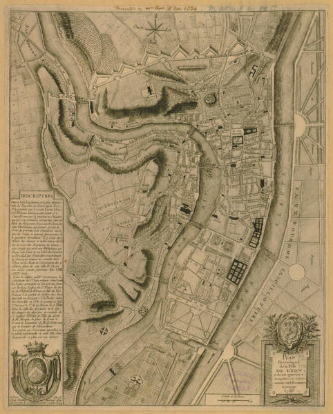 Color Image Digital Art - Map Of Lyon 1786 by Historic Map Works Llc