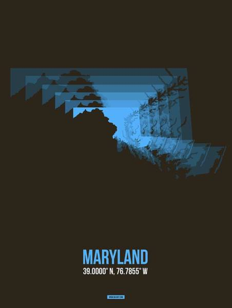 Wall Art - Digital Art - Map Of Maryland by Naxart Studio