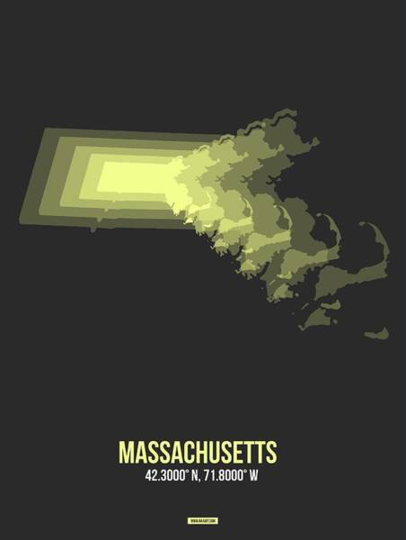 Wall Art - Digital Art - Map Of Massachusetts 2 by Naxart Studio
