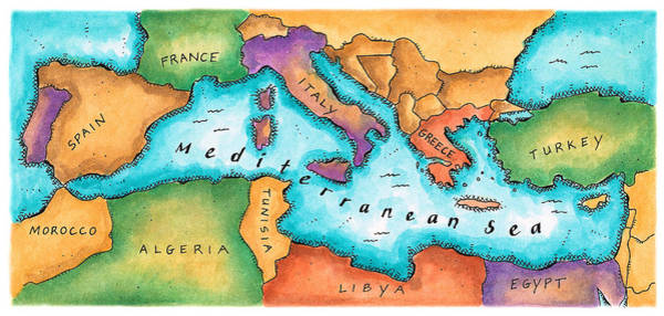 Boundary Digital Art - Map Of Mediterranean Sea by Jennifer Thermes