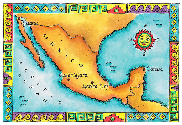 Boundary Digital Art - Map Of Mexico by Jennifer Thermes