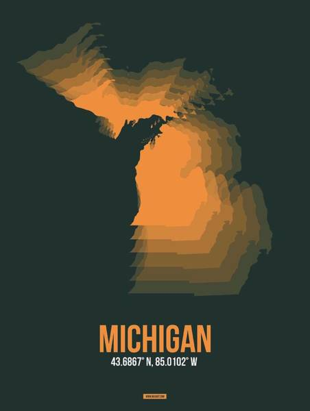 Wall Art - Digital Art - Map Of Michigan by Naxart Studio