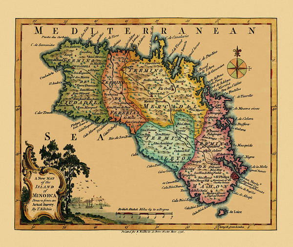 Photograph - Map Of Minorca 1756 by Andrew Fare