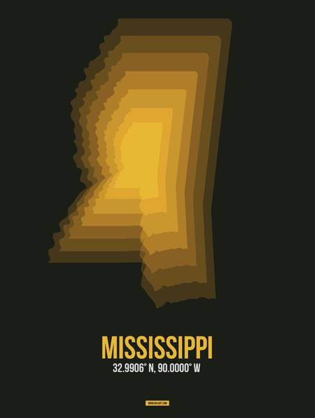 Wall Art - Digital Art - Map Of Mississippi 1 by Naxart Studio