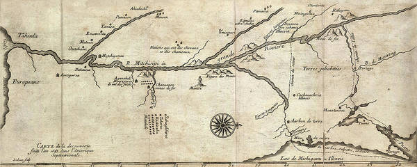 Photograph - Map Of Mississippi River 1673 by Andrew Fare