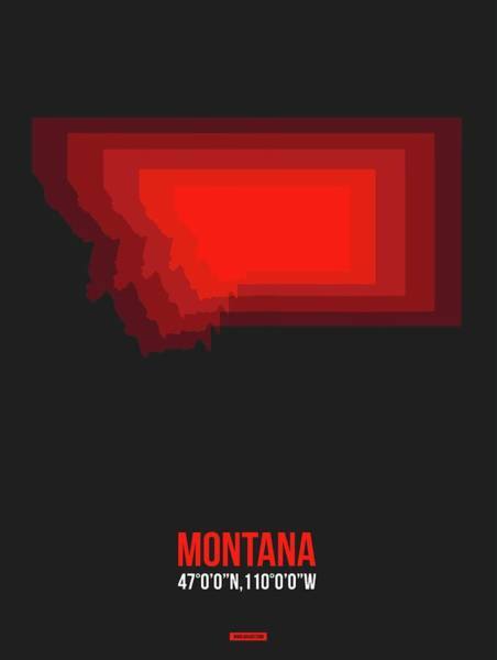Wall Art - Digital Art - Map Of Montana Red by Naxart Studio
