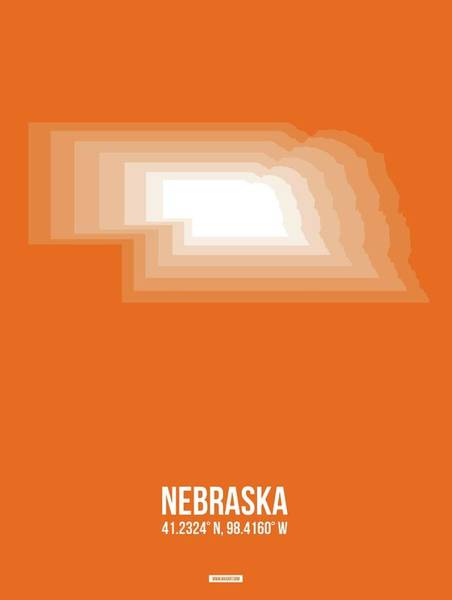 Wall Art - Digital Art - Map Of Nebraska by Naxart Studio