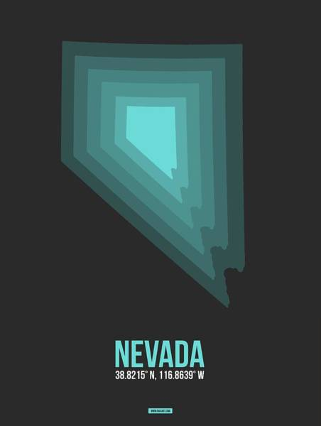 Wall Art - Digital Art - Map Of Nevada Teal by Naxart Studio