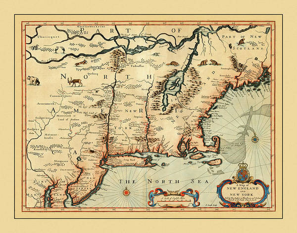 Wall Art - Photograph - Map Of New England 1676 by Andrew Fare