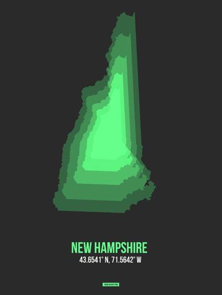 Wall Art - Digital Art - Map Of New Hampshire Green by Naxart Studio