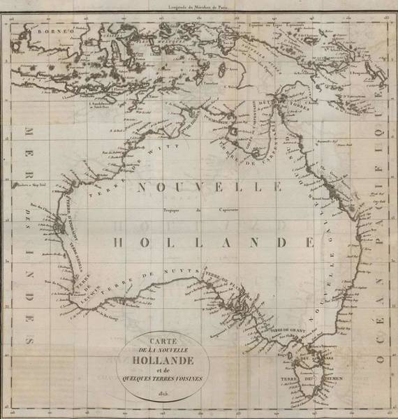 Wall Art - Painting - Map Of New Holland And Some Neighboring Lands 1814 by Celestial Images