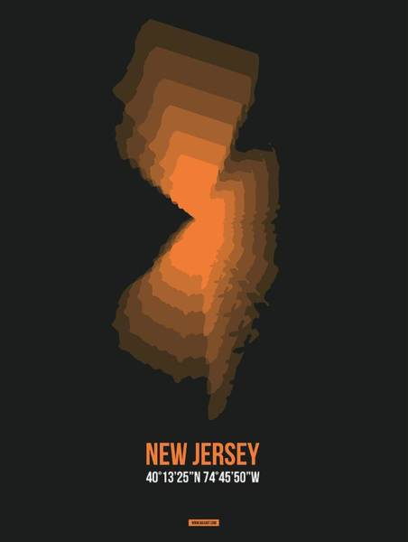 Mid Atlantic Digital Art - Map Of New Jersey, Orange by Naxart Studio