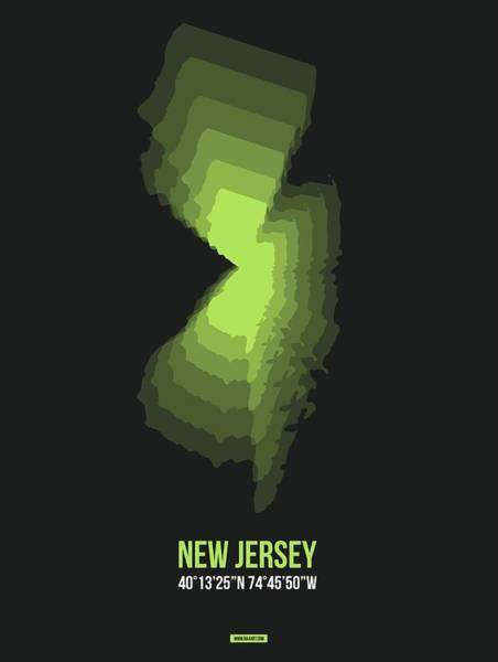 Mid Atlantic Digital Art - Map Of New Jersey, Yellow by Naxart Studio