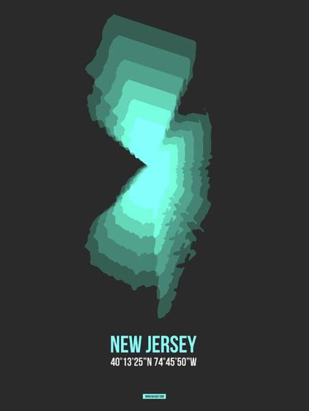 Mid Atlantic Digital Art - Map Of New Jersey.teal by Naxart Studio