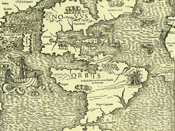 Wall Art - Drawing - Map Of New World From Geographia Universalis Vetus Et Nova Complectens by Ptolemy