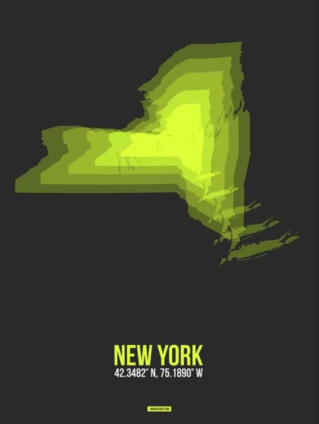 Wall Art - Digital Art - Map Of New York Yellow by Naxart Studio