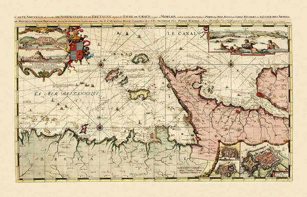 Photograph - Map Of Normandy 1693 by Andrew Fare