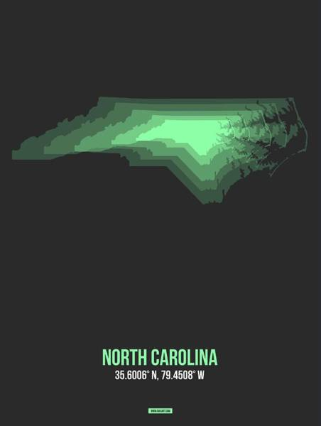 Wall Art - Digital Art - Map Of North Carolina, Green by Naxart Studio