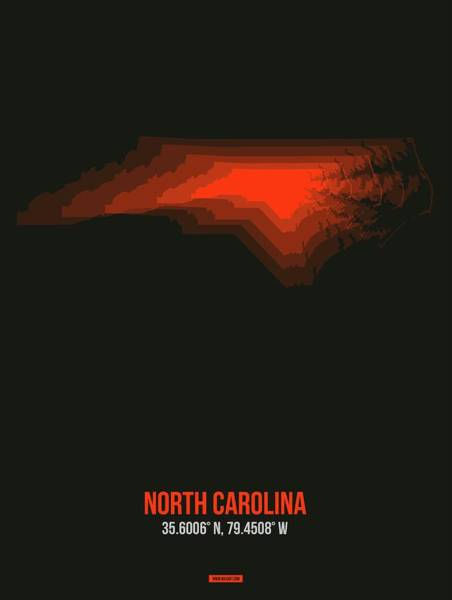 Wall Art - Digital Art - Map Of North Carolina, Red by Naxart Studio