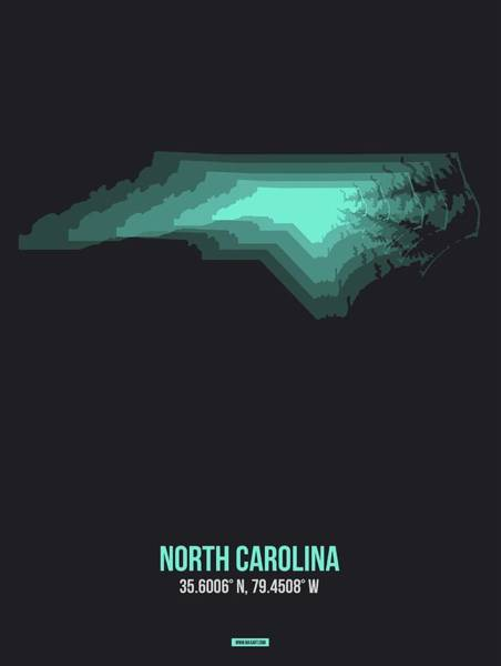 Charlotte Wall Art - Digital Art - Map Of North Carolina, Teal by Naxart Studio