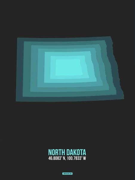 Wall Art - Digital Art - Map Of North Dakota Teal by Naxart Studio