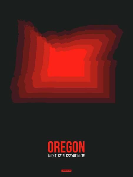 Wall Art - Digital Art - Map Of Oregon,red by Naxart Studio
