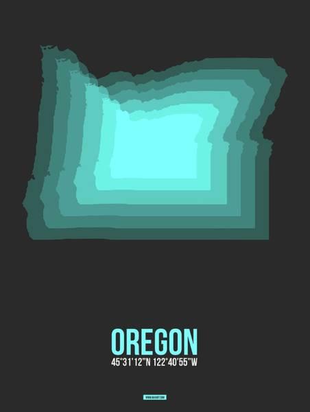 Wall Art - Digital Art - Map Of Oregon,teal by Naxart Studio