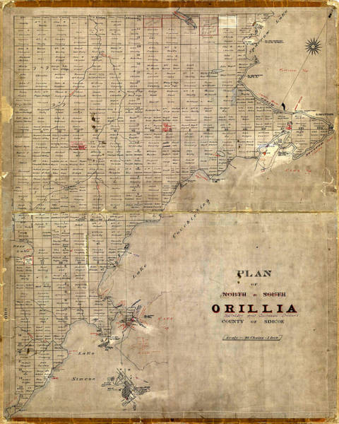 Photograph - Map Of Orillia 1850 by Andrew Fare