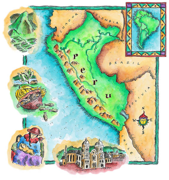 Wall Art - Digital Art - Map Of Peru by Jennifer Thermes