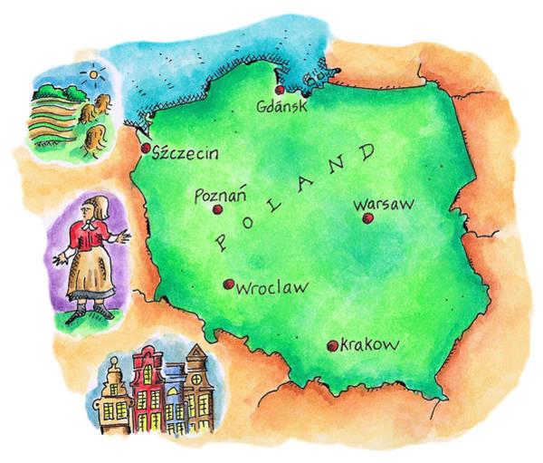 Full Length Digital Art - Map Of Poland by Jennifer Thermes