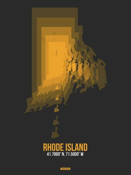 Wall Art - Digital Art - Map Of Rhode Island by Naxart Studio