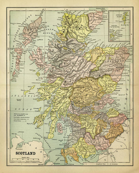 Map Of Scotland 1883 Art Print by Thepalmer