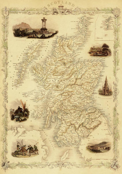 Journey Digital Art - Map Of Scotland From 1851 by Nicoolay