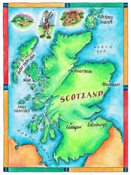 Bagpipe Wall Art - Digital Art - Map Of Scotland by Jennifer Thermes