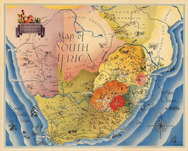 Photograph - Map Of South Africa 1937 by Andrew Fare