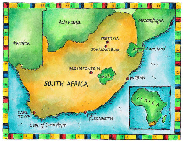 Boundary Digital Art - Map Of South Africa by Jennifer Thermes