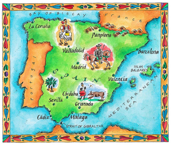 Map Of Spain Art Print by Jennifer Thermes