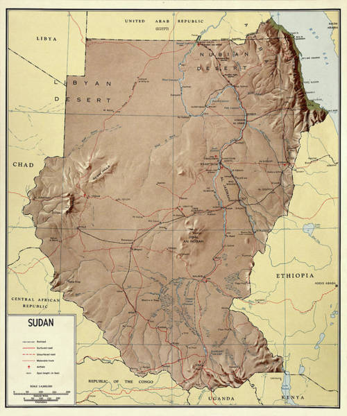 Photograph - Map Of Sudan 1963 by Andrew Fare