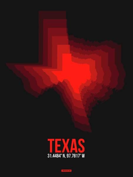 Wall Art - Digital Art - Map Of Texas Red by Naxart Studio