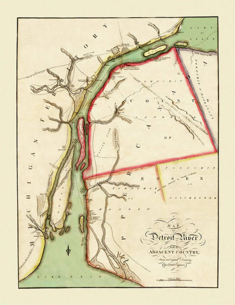 Photograph - Map Of The Detroit River 1813 by Andrew Fare