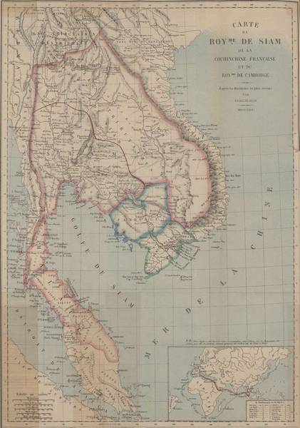 Wall Art - Painting - Map Of The Kingdom Of Siam And French Cochinchina 1869 by Celestial Images