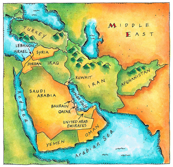 Lebanon Digital Art - Map Of The Middle East by Jennifer Thermes