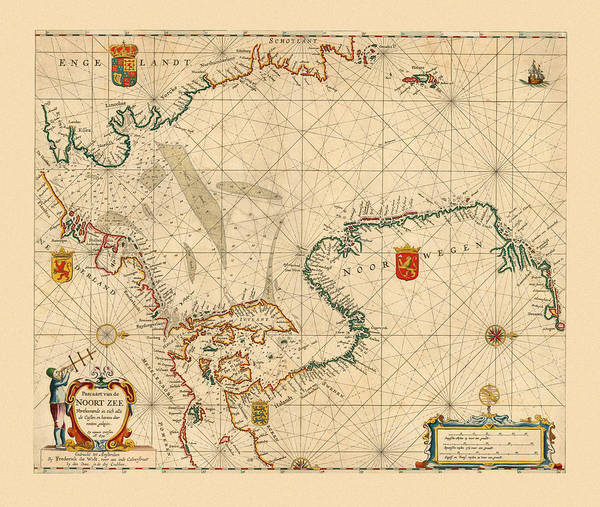 Photograph - Map Of The North Sea 1654 by Andrew Fare