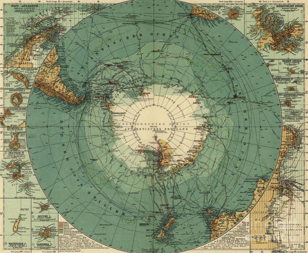 Old South Painting - Map Of The South Pole, 1912  by August Heinrich Petermann