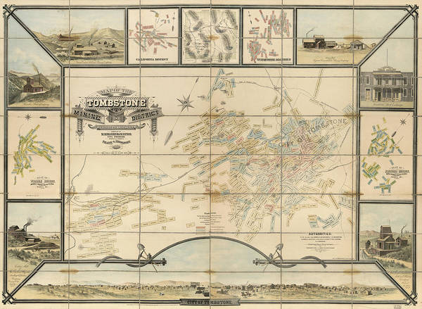 Photograph - Map Of The Tombstone Mining District by Mark Kiver