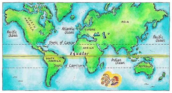 Tropics Digital Art - Map Of The World & Equator by Jennifer Thermes