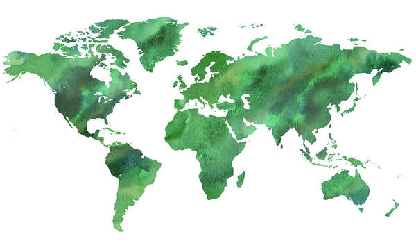Wall Art - Painting - Map Of The World In Green Watercolor by Irina Sztukowski